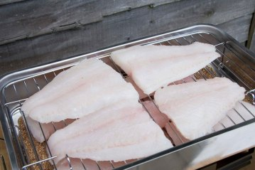 fillets on the Snowbee Smoker grill mesh