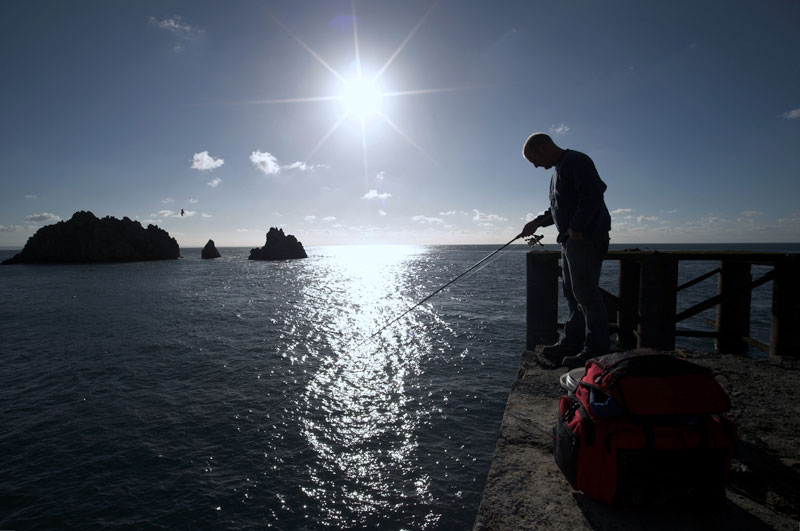 sunsets while fihsing for Alderney black bream