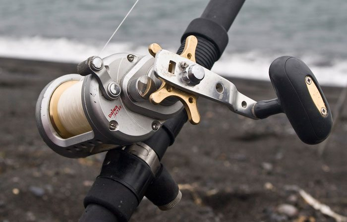 a Diawa reel on a rod in Iceland