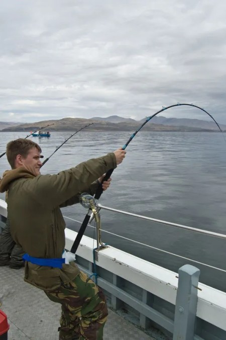 an angler bends into an Oban common skate