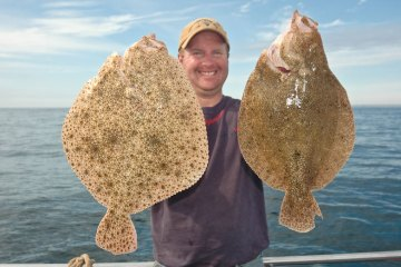 Mark Harding with a turbot and brill in hand