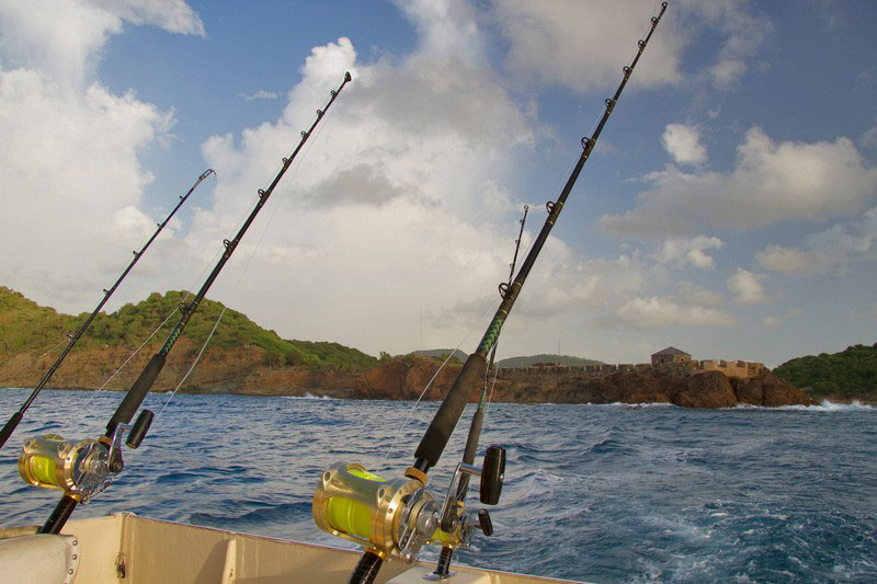 Antigua Fishing rods over stern