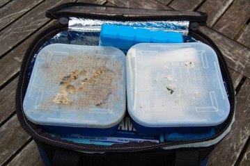 bait and tubs in a Sakuma Cooler Bag