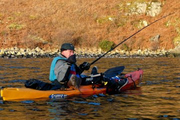 a kayak angler on Etive with a small thornback ray
