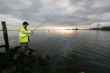 Steve winds in a Greatham Creek flounder