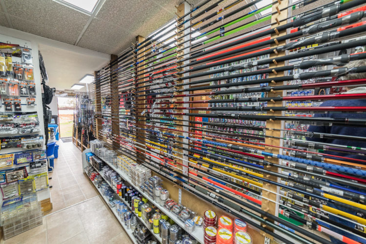 Chesil Bait N Tackle rod display