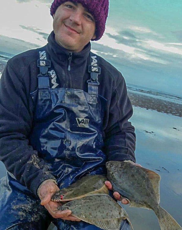 Joe Scammell with his bag of flounder