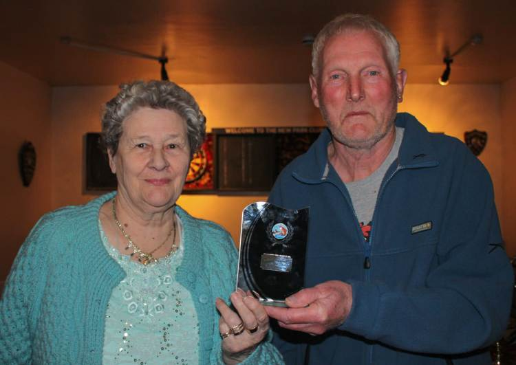 Alan Steadman receiving his trophy from Cup Custodian, Christine Faithfull