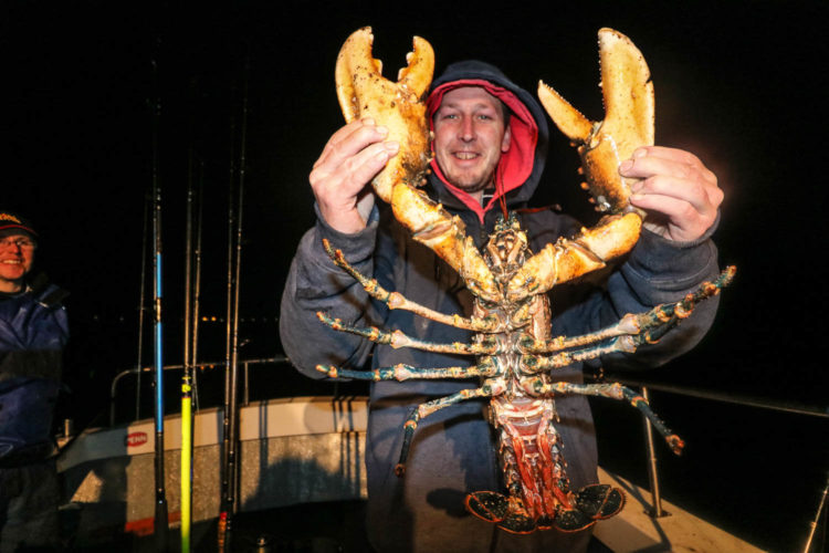 Mark with a big lobster