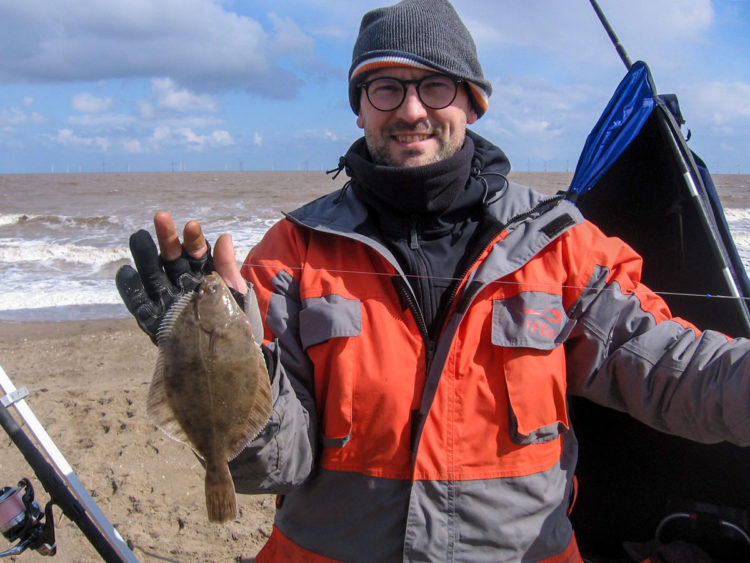 Second placed Tom Marshall with the smaller of his two flounders