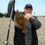 the late Adrian Farley with a red spotted plaice