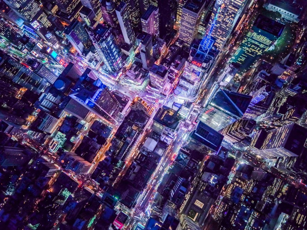 Times Square Aerial Night