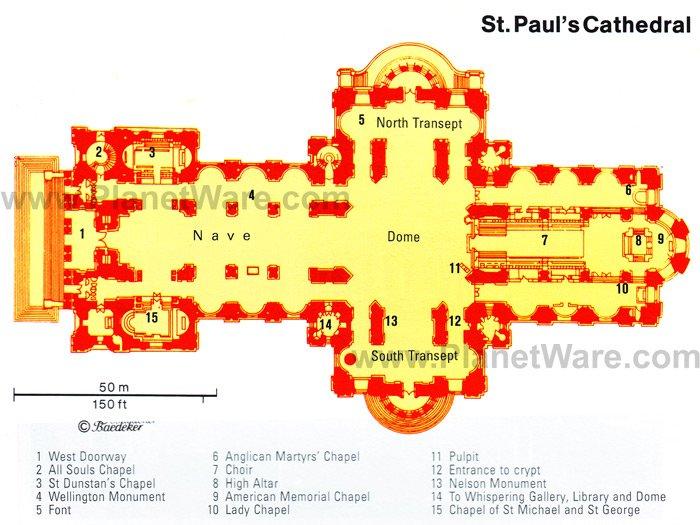 Mapa de la Catedral de St Paul ( Me sente en las bancas identificadas con el numero 7)