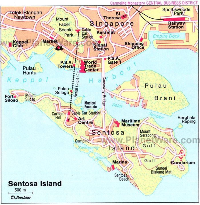 Sentosa Island Map - Tourist Attractions