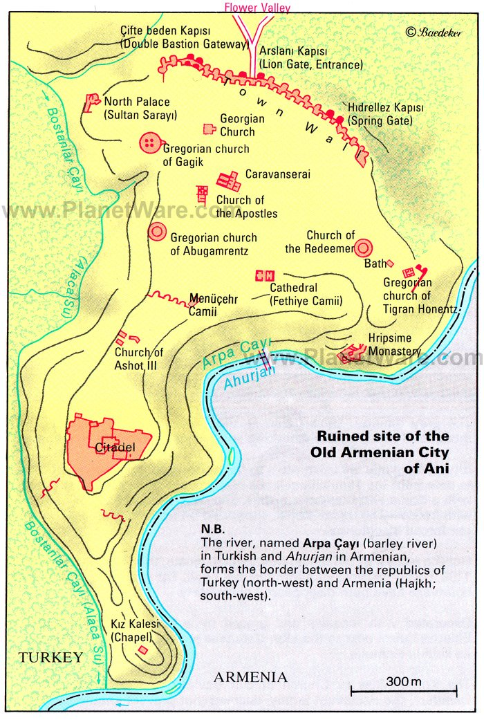 Ani - Ruined Site of the Old Armenian City Map