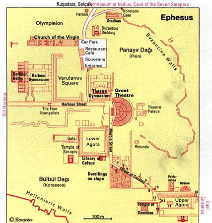 Ephesus Map - Tourist Attractions