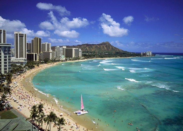 Waikiki Beach and Diamond Head State Monument