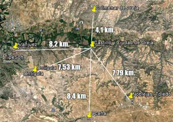 Mapa caminos a Castillo de Oreja