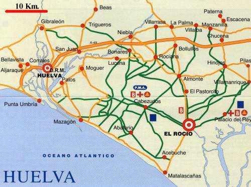 Plano rutas romería del Rocío