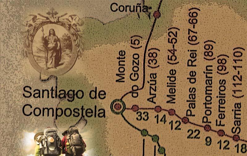 Camino de Santiago en un puente