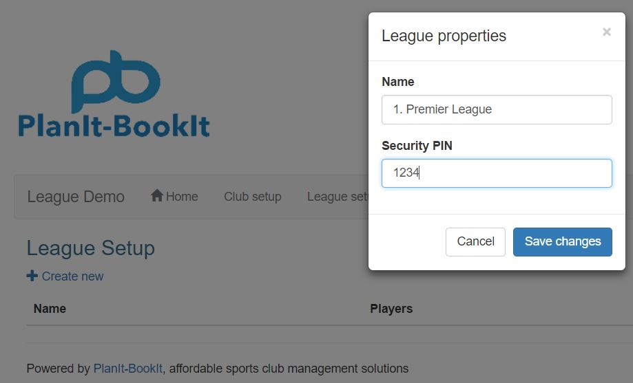 The league properties form will display on the screen. Enter the Name of the league and a Security Pin.   Please note that leagues are displayed in alphabetic order so if you have less than ten leagues then you might want to label them 1. through to 9. For clubs with more than 9 leagues you could prefix them with A. B. C., etc.  The Security PIN is the code that you will provide the players in the league so that they can enter their results into the system.