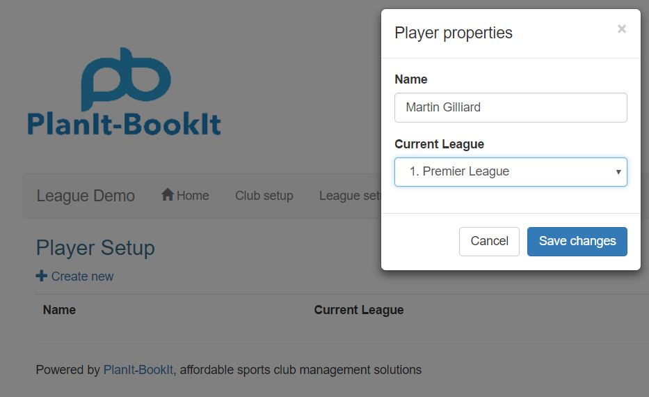 The player properties form will display on the screen. Enter the Name of the player and the select the Current League you want them to be in. Finish by clicking the blue Save changes button.