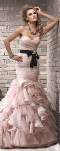 blush black wedding dress