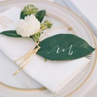 green leaf place cards