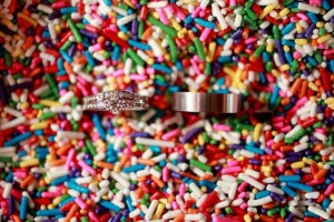 wedding rings in sprinkles