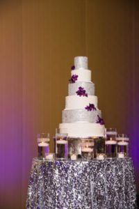 six tier silver cake