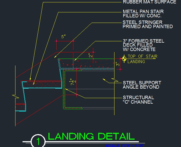Stair Landing Connection To Tread And Stringer Cad Files Dwg | Concrete Filled Metal Pan Stairs | Staircase | Wood | Edge | 5 Flight | Detail