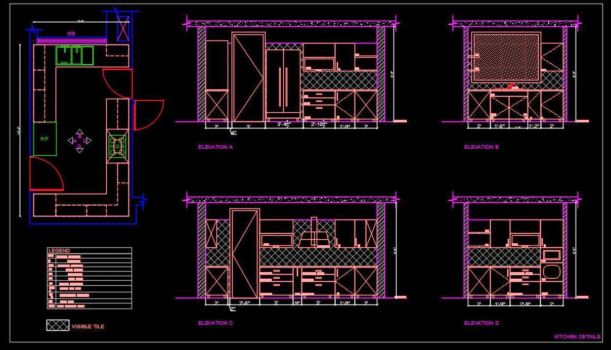 Modular Kitchen Cad Drawing Free Download Autocad Dwg