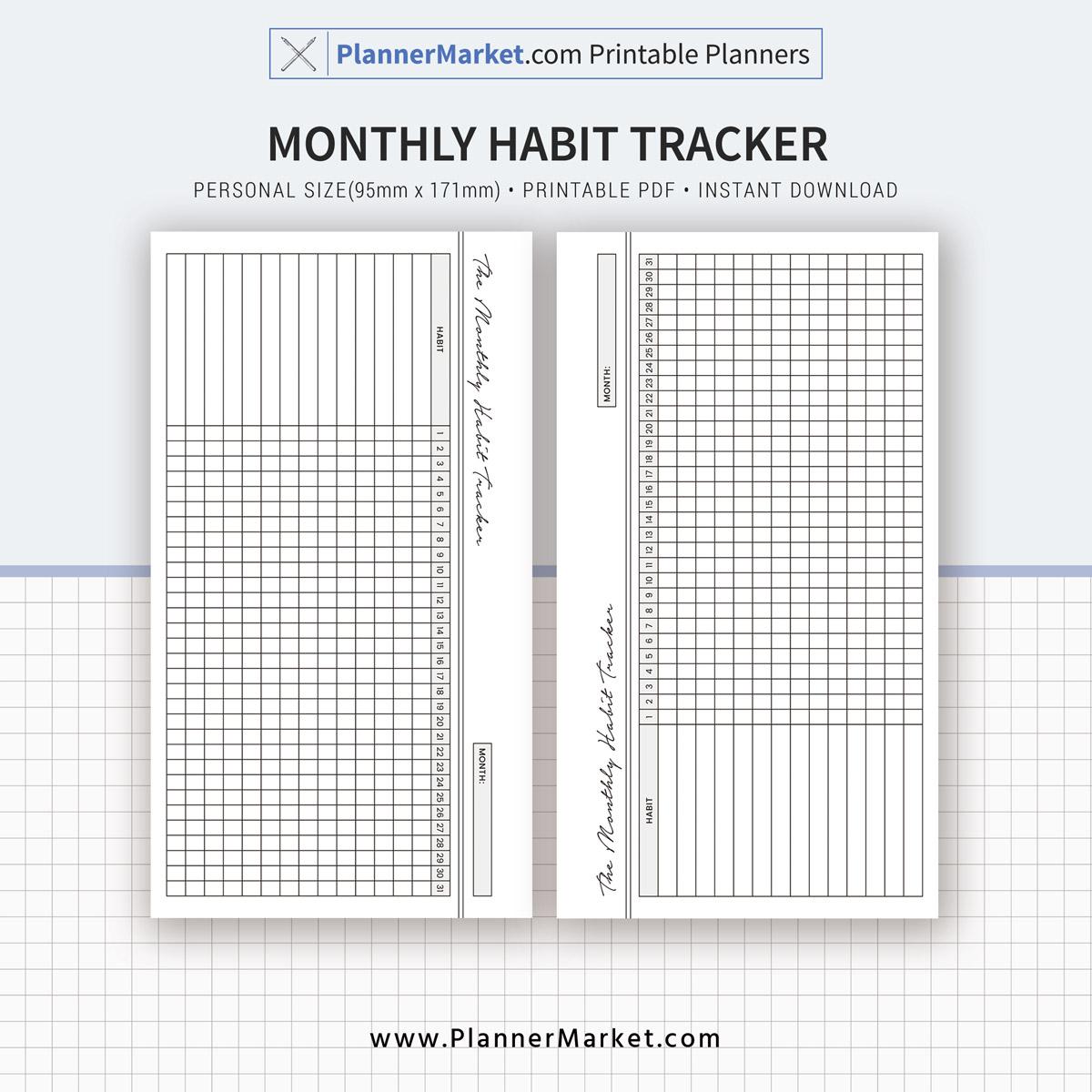 Habit Tracker Monthly Habit Tracker Planner Personal Size Inserts Planner Refill