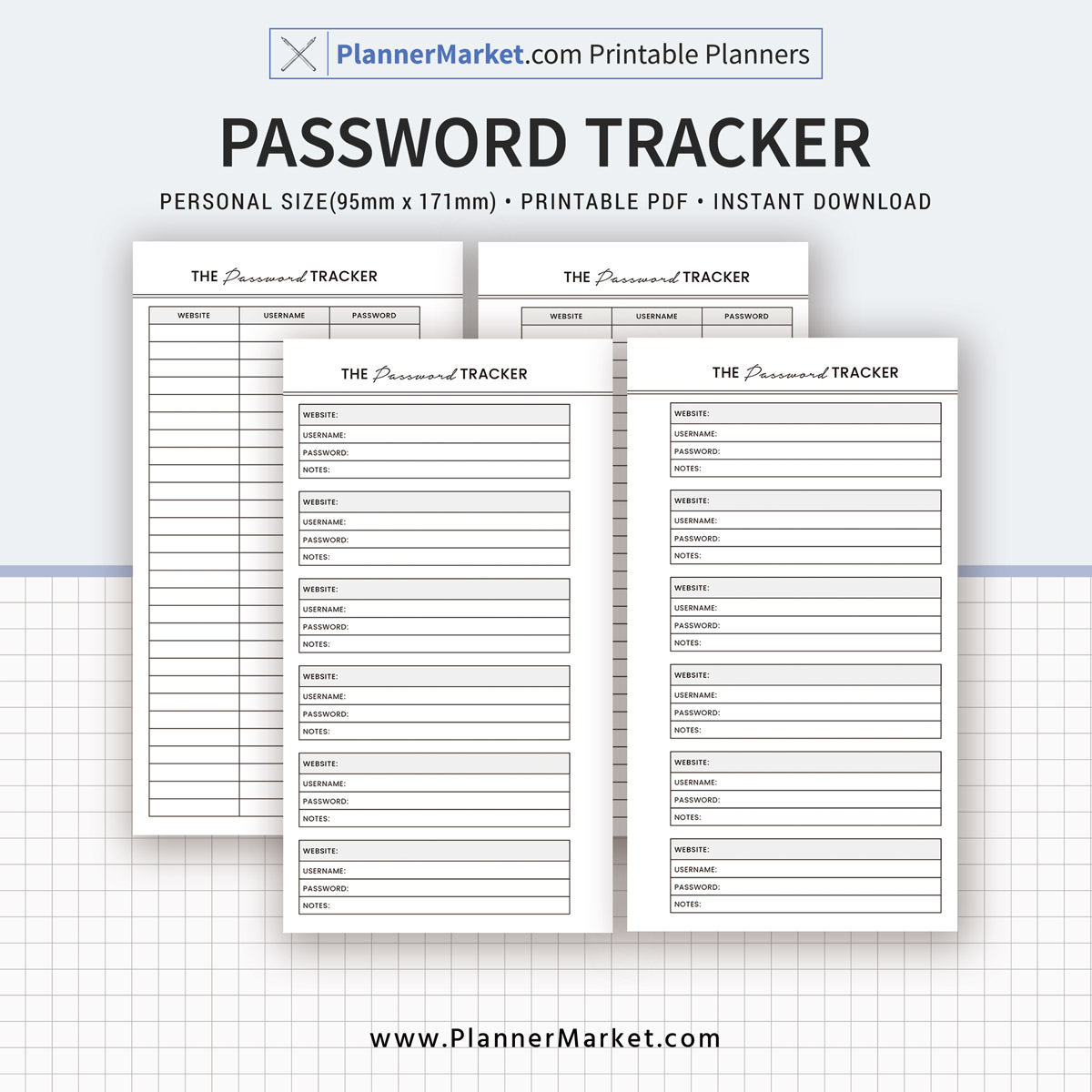 Password Tracker Inserts Planner Personal Size