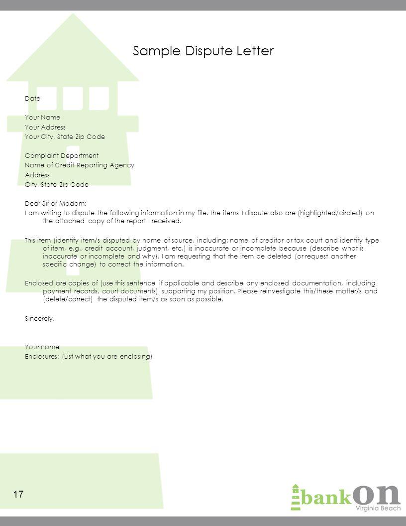 Template for dispute letter roho4senses template for dispute letter spiritdancerdesigns Gallery