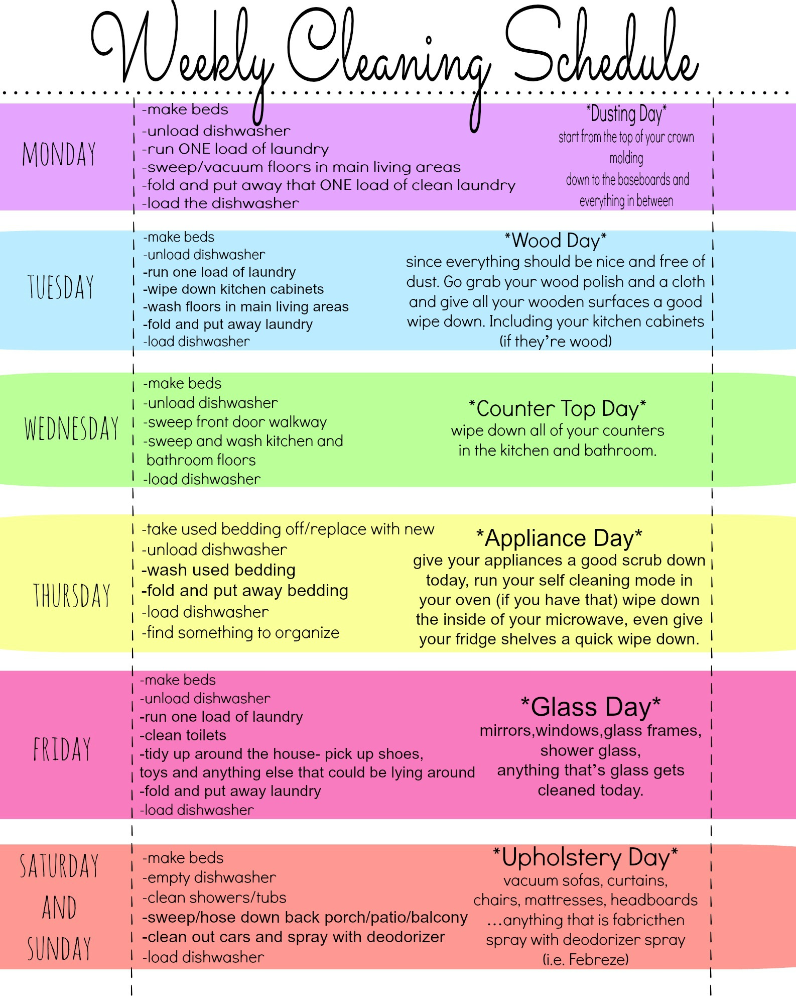 Weekly Cleaning Schedule Planner Template Free