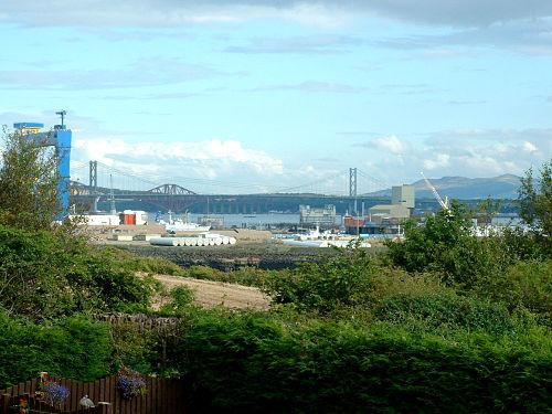 view of Rosyth dockyard from Limekilns