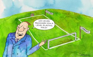 Cartoon of a football pitch sloped from the developer's goals towards the community's goal and a man saying