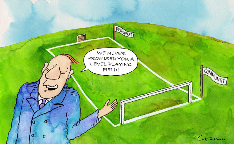 """Cartoon of a football pitch sloped from the developer's goals towards the community's goal and a man saying """"we never promised you a level playing field"""""""