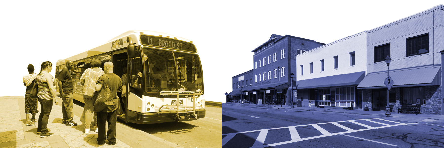 Footer banner photo with bus and streetscape