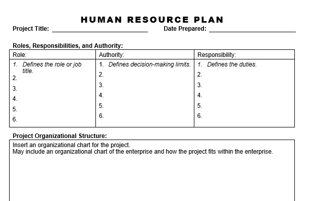 Human Resource Plan Template human resource plan hashdoc project – Resource Planning Template