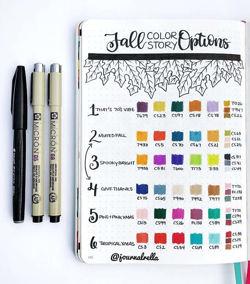 Bullet Journal Trackers and Collections. This layout is a fall color story collection from journalrella.