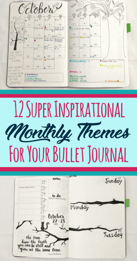 Never run out of monthly theme ideas for your bullet journal ever again! These 12 inspirational bullet journal monthly theme ideas will make your bujo the envy of your friends. Great for anybody who wants to learn how to start a bullet journal! Never worry about finding ideas to decorate your page setup again and make your layouts shine!