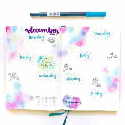 Bullet journal weekly spread mermaid theme