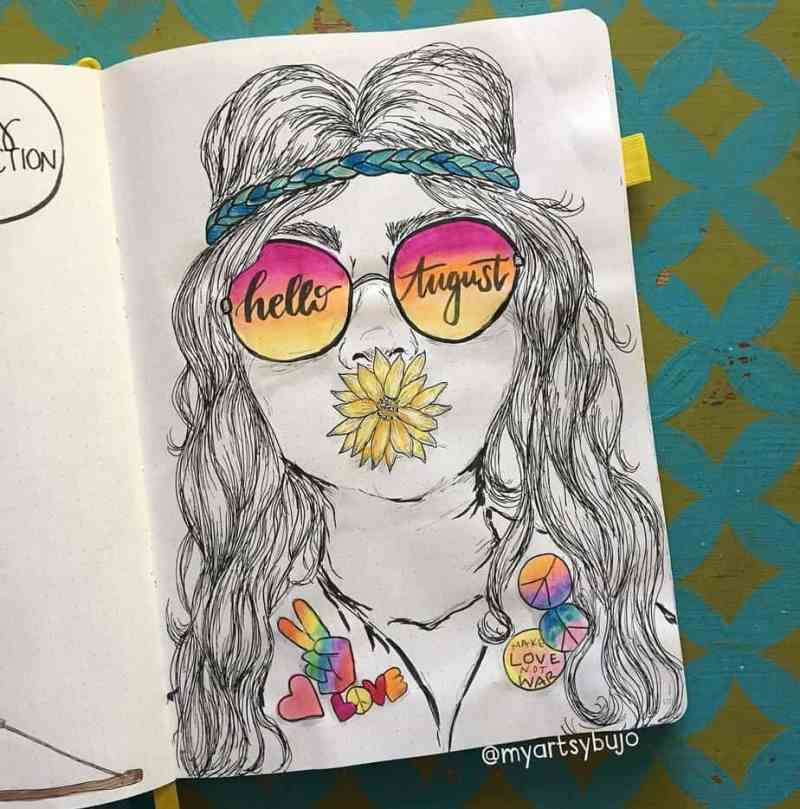 This hip cover page by @myartsybujo You don't see many hippy-themed bullet journal cover pages, but this one by Elizabeth is spectacular! Mostly black and white, with pops of groovy color give this bullet journal spread truly unique flair.