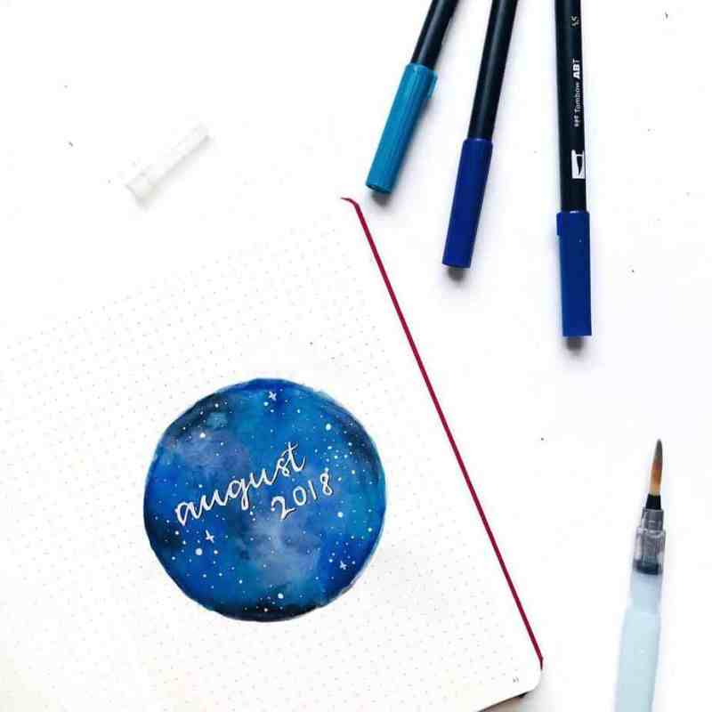 More galaxy goodness by @sketches.sunny More beautiful sky scene ideas for great cover pages, like this one here! This one has more of a watercolor vibe. White gel pen makes for beautiful stars setting over the watercolor on this bullet journal layout.