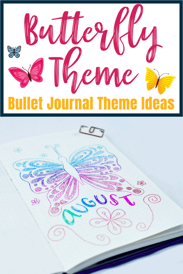 Butterfly theme bullet journal theme ideas. Need a new idea for next month's bullet journal setup? Try a beautiful butterfly theme. Perfect planner doodles and bullet journal art for all skill levels. Decorate your bujo today! #bulletjournal #theme #diyart #crafts #drawing #doodles