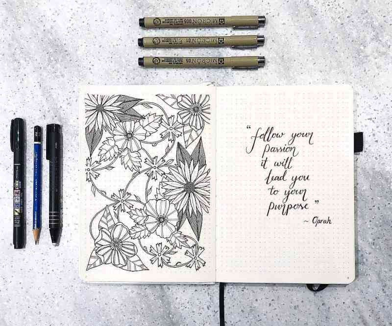 Love the intricate flower doodles from @littleplannerbug These epic flower doodles are so complex but are amazing eye candy for this bullet journal. Not to mention, there's even a quote cover page right next to this doodle page. Sometimes it's fun just to show off a little bit in your bullet journal, right?
