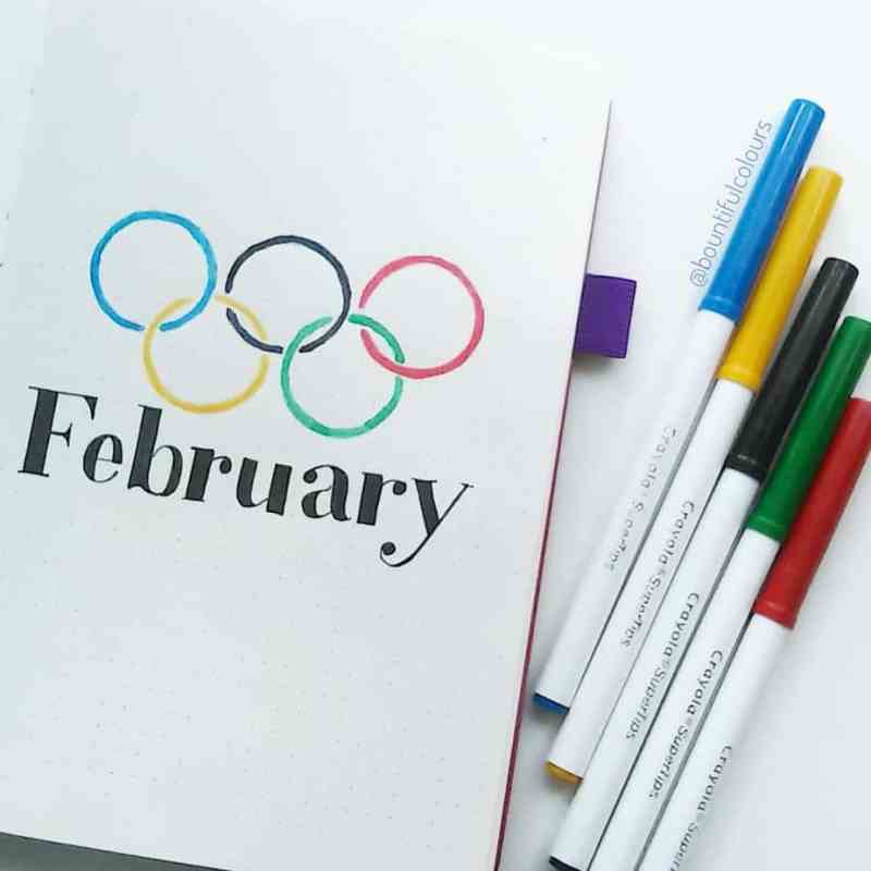 @bountifulcolours made this epic bullet journal cover page! February brings the Winter Olympics, and this classy spread is a perfect way to highlight the season.