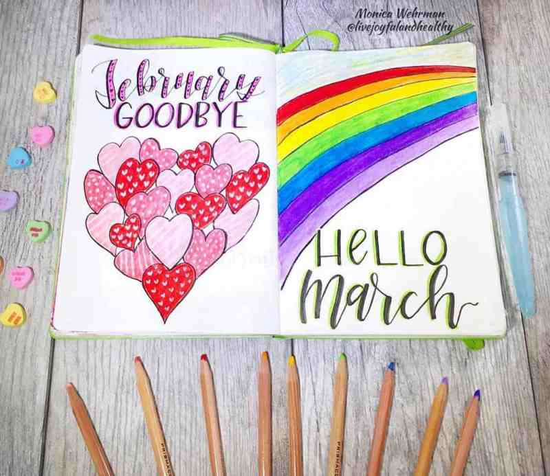 @livejoyfulandhealthy made this great 'Hello March' spread! I love a rainbow theme for any month of the year. I can't get enough of the lime green accents on the lettering, too! This spread also features a 'Goodbye' cover page to the previous month. If you're left with an extra page, a goodbye bullet journal cover page is another unique idea to use up your page space.